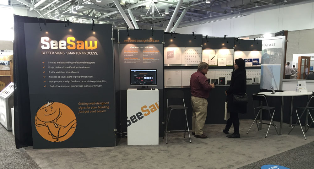 SeeSaw Sign Tools booth at ABX 2015 in Boston